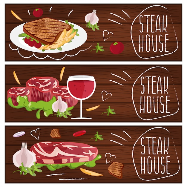 Set of banners for theme steak house with steak ,fries and wine Premium Vector