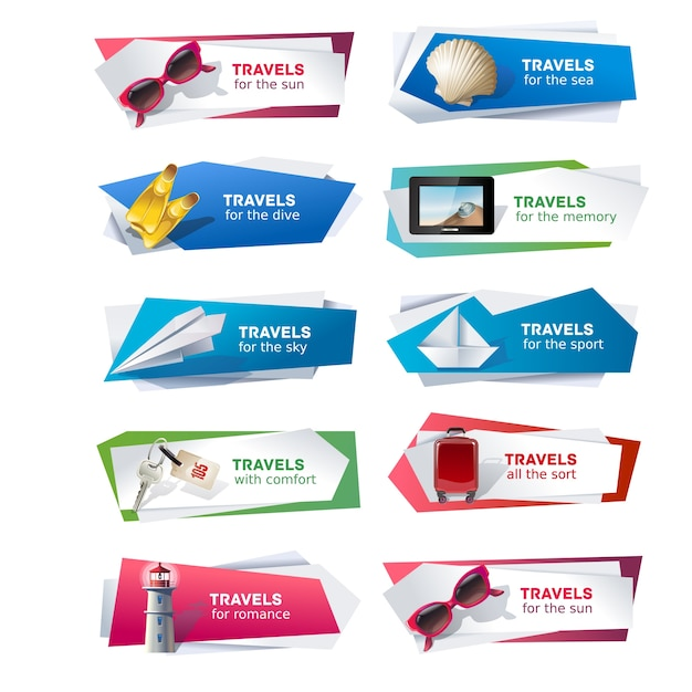 Set banners on the theme of travel Free Vector