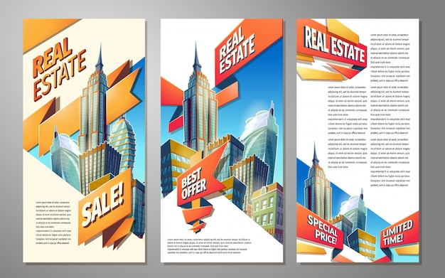 Set of banners, urban backgrounds with city landscape Free Vector
