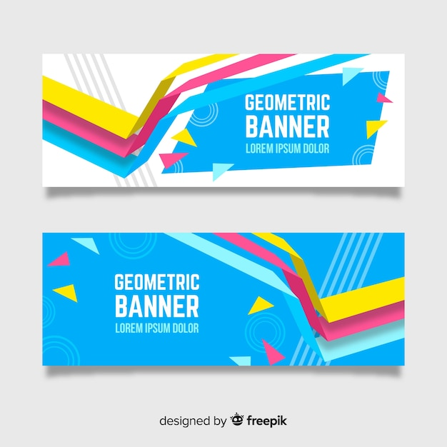 Set of banners with abstract geometric shapes Free Vector