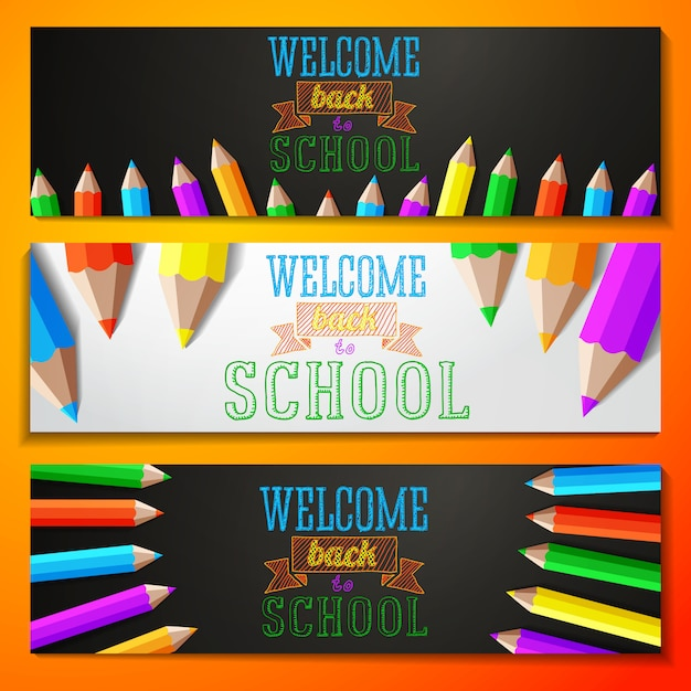 Set of banners with back to school text. vector Premium Vector
