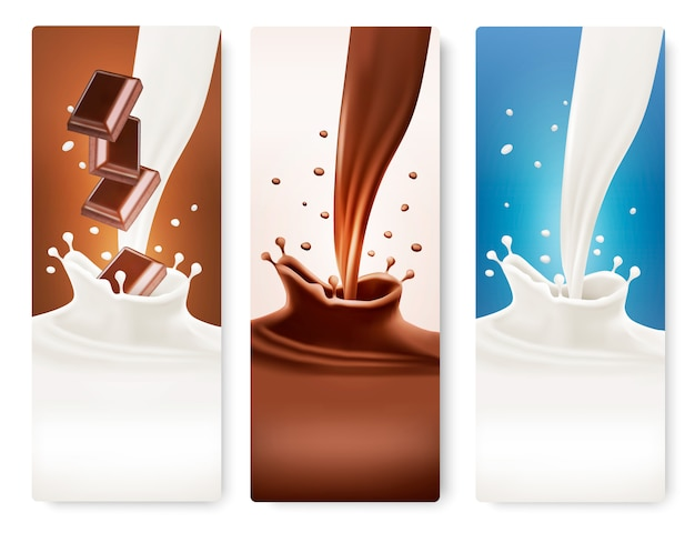 Set of banners with chocolate and milk splashes. Premium Vector