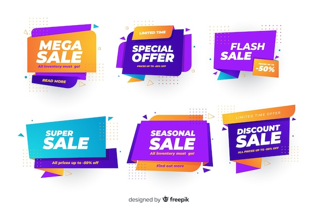 Set of banners with flash discounts Free Vector