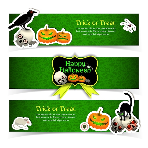 Set of banners with halloween elements animals and yellow ribbon on green textured background isolated Free Vector