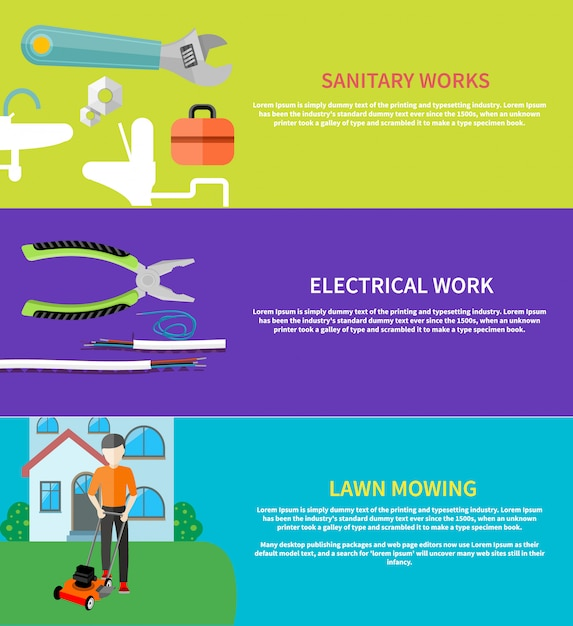 Set of banners with man cutting grass in his garden yard with lawn mower. sanitary works. toolbox and wrench Premium Vector