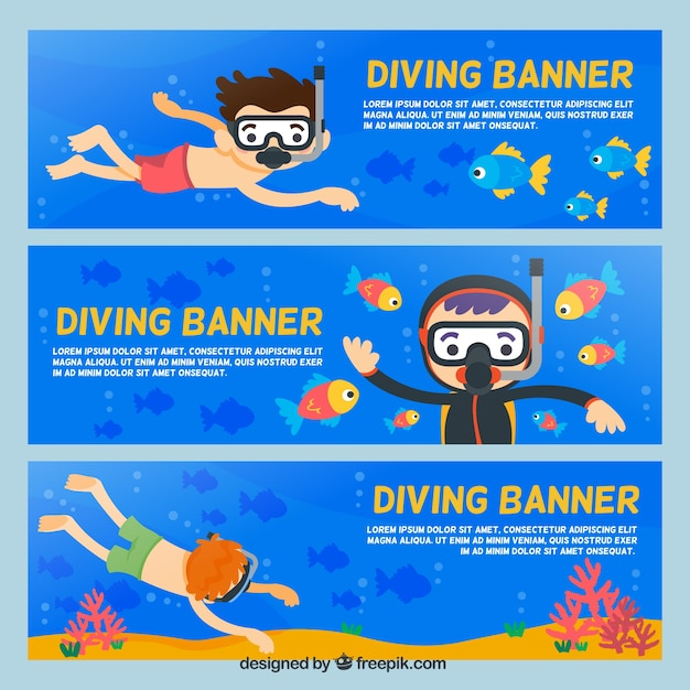 Set of banners with nice scuba divers Free Vector