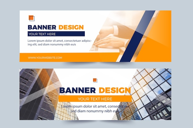 Set of banners with photos Free Vector