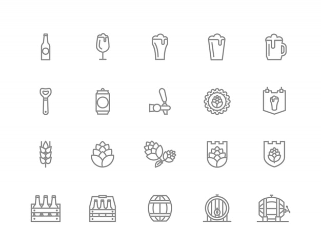 Set of bar and pub line icons. alcohol, bottle, barley and more. Premium Vector