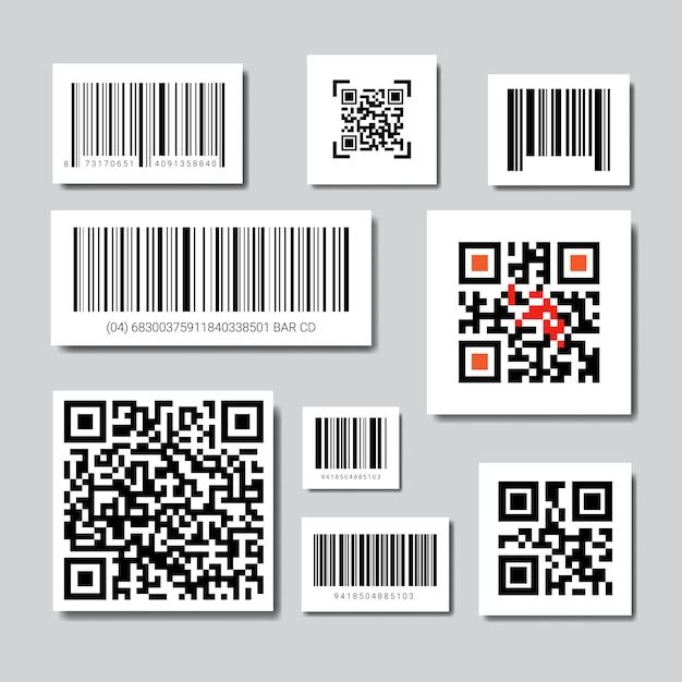 Set of bar and qr codes for scanning icons collection Premium Vector