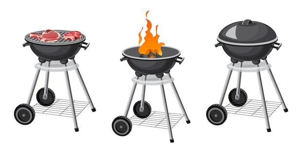 Set of barbecue grill. Premium Vector