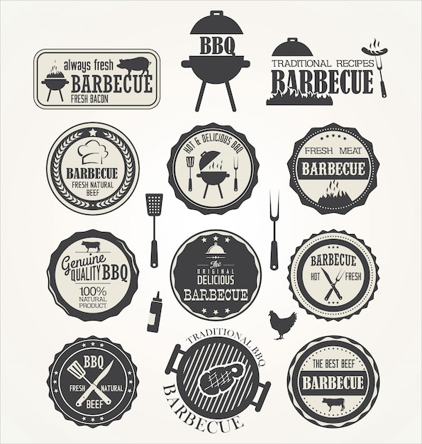 Set of barbecue labels Premium Vector