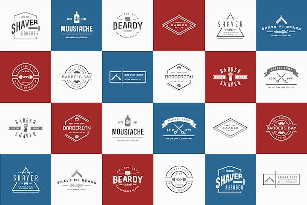 Set of barber shop logo Premium Vector