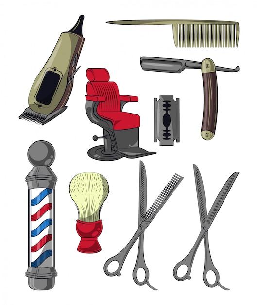 Set of barbershop utensils collection Premium Vector