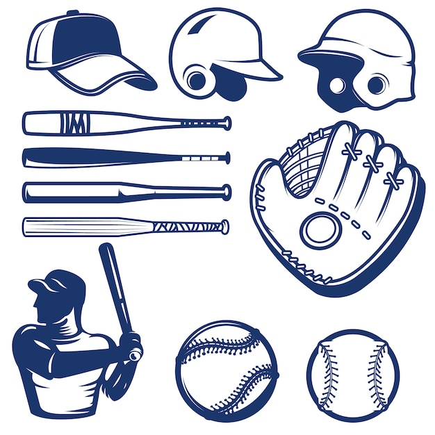 Set of baseball  elements. baseball beats, balls, glove, hats.  elements for logo, label, emblem, sign.  illustration Premium Vector