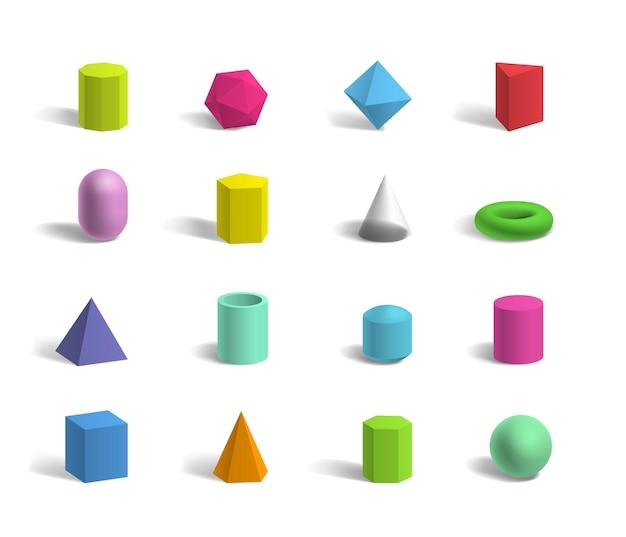 Set of basic 3d geometric shapes colorful sphere, torus, cube, pyramids, hexagon and pentagon Premium Vector