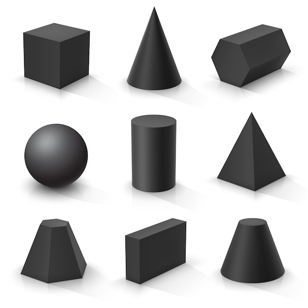 Set of basic 3d shapes. black geometric solids Premium Vector