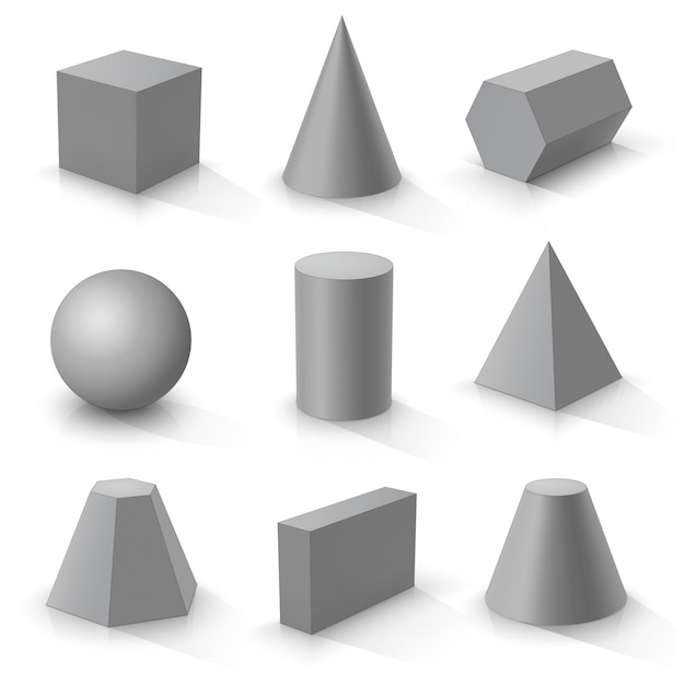 Set of basic 3d shapes,  grey geometric solids on a white background Premium Vector