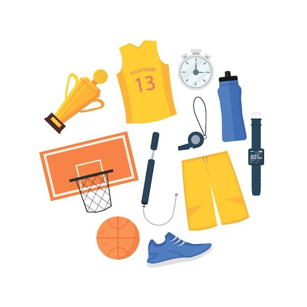 Set of basketball items in circle shape illustration Premium Vector