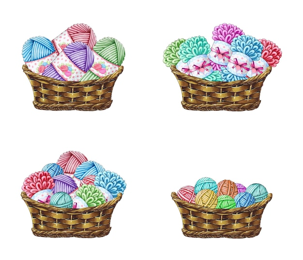 A set of baskets with yarn for knitting Premium Vector