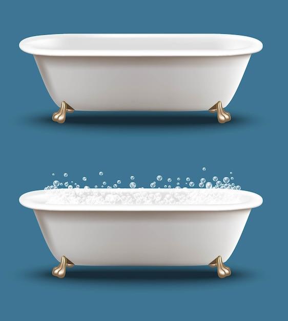 Set bathtub with soap bubbles ans shampoo foam. Premium Vector