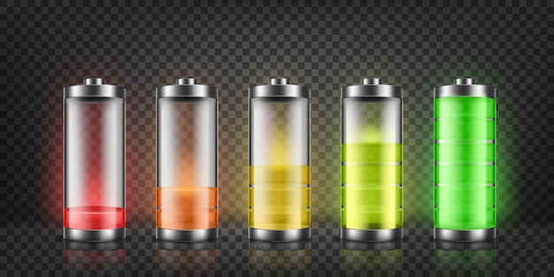 Set of battery charge indicators with low and high energy levels isolated on background. Free Vector