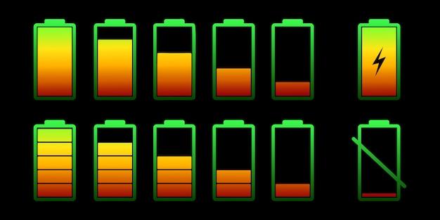 Установите аккумулятор с разным уровнем заряда. цветовая коллекция батарей. беспроводная зарядка энергии знак. графический дизайн. Premium векторы