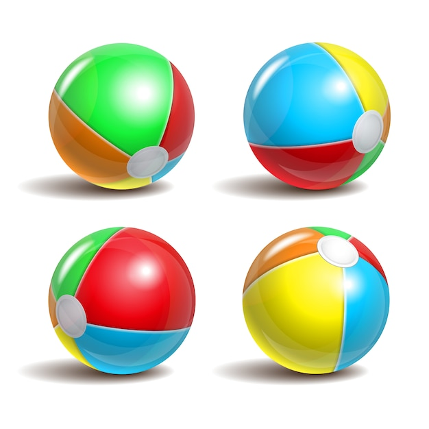 Set of beach balls in different positions  on a white background. symbol of summer fun at the pool or seaside. Premium Vector
