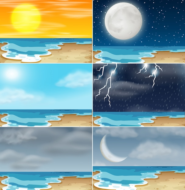 Set of beach different climate Free Vector
