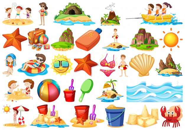 Set of beach element Free Vector