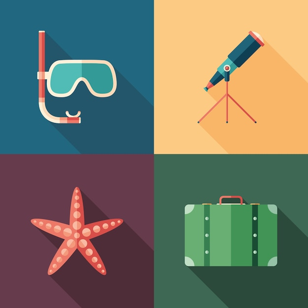 Set of beach flat square icons Premium Vector
