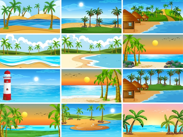 Set di sfondo di scene di spiaggia Vettore gratuito