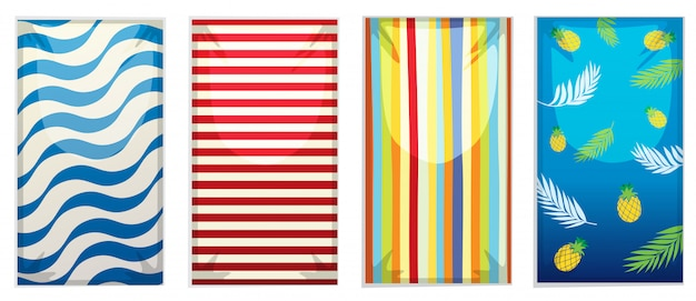 A set of beach towel Free Vector