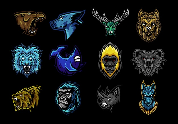 Set of beast mascot illustration Premium Vector