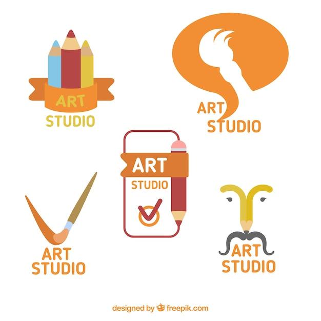Set of beautiful art studio logos Premium Vector
