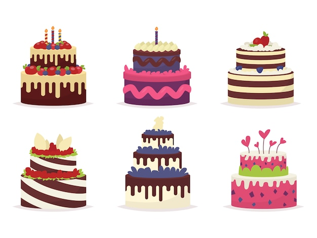 Set of beautiful cakes for birthdays, weddings, anniversaries and other celebrations.  illustration of a Premium Vector