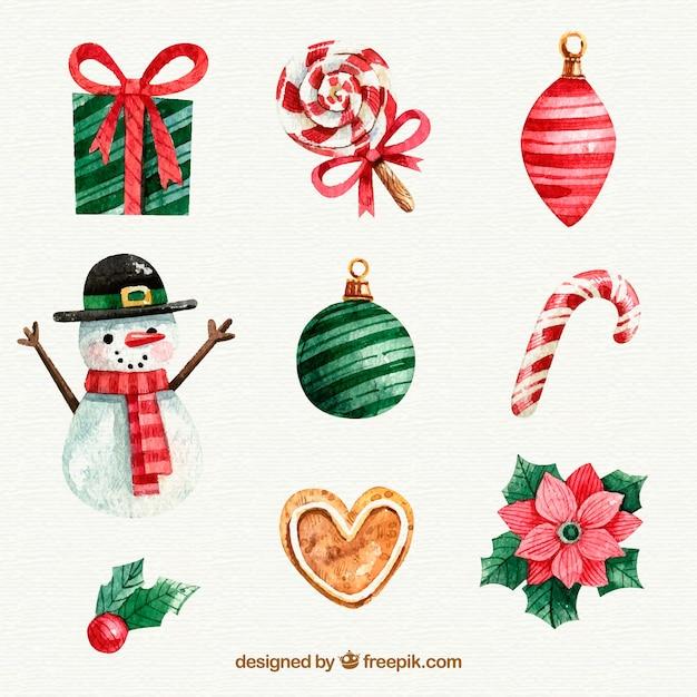 Set of beautiful decorative christmas elements Free Vector