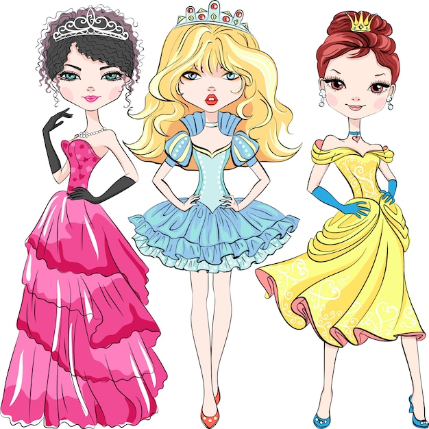 Set of beautiful fashion girls princesses in the crowns and in a beautiful dresses Premium Vector