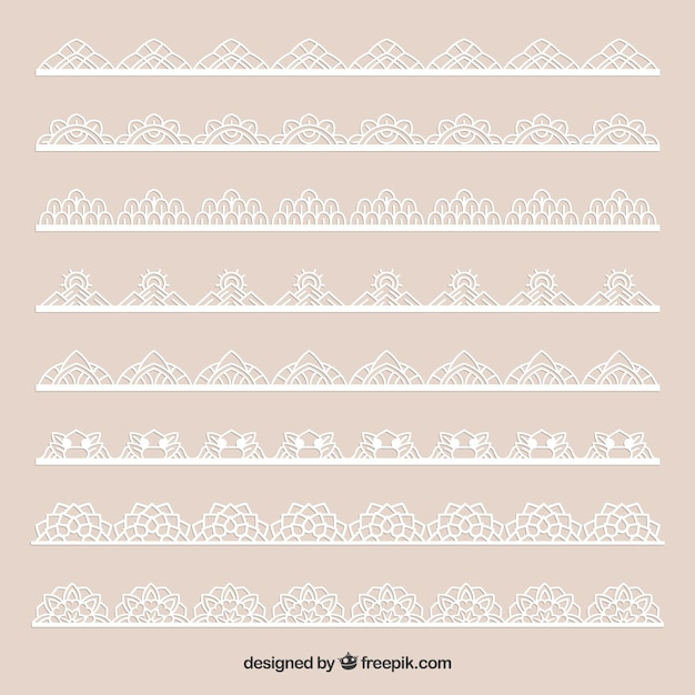 Set of beautiful lace borders Free Vector