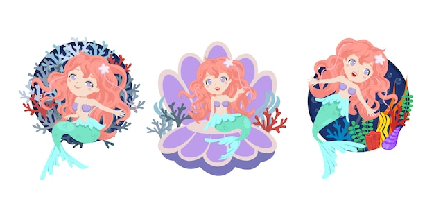 Set of beautiful mermaid with coral decoration. flat style vector Premium Vector