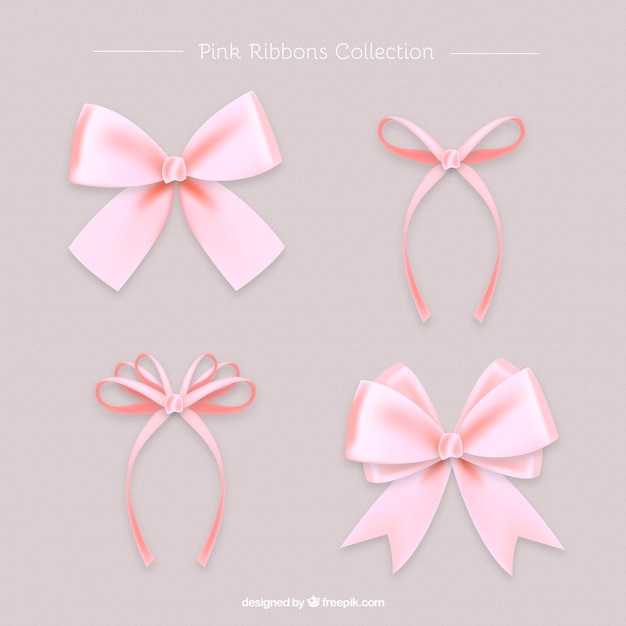 Set of beautiful pink realistic bows Free Vector