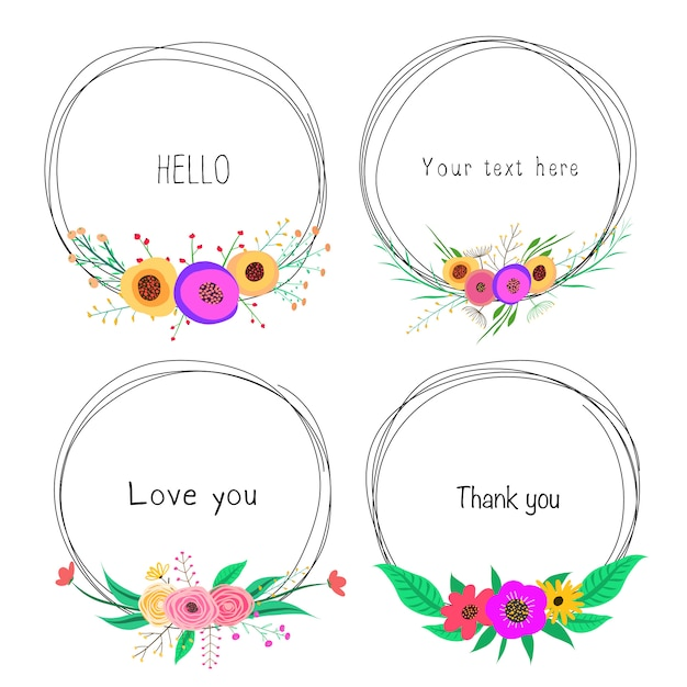 Set of beautiful round frames with flower for decoration Premium Vector