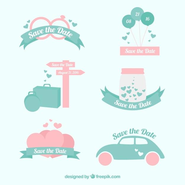 Set of beautiful wedding invitation stickers Free Vector