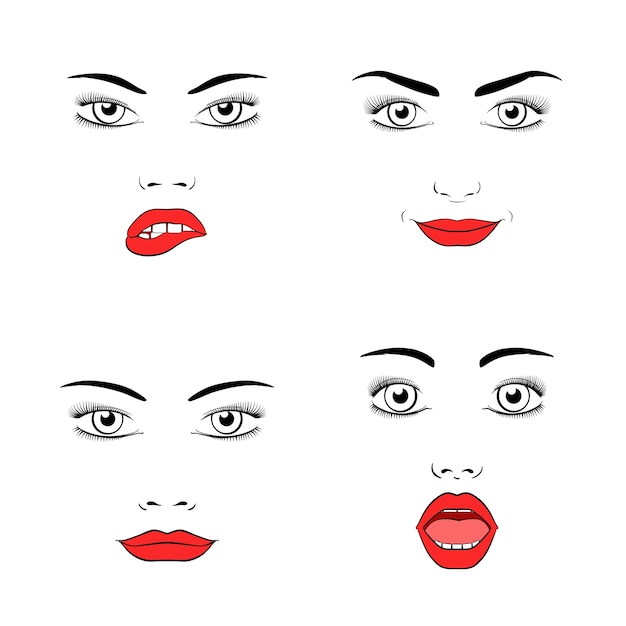 Set of beautiful woman face silhouette. emotions and joy, surprise and anger. Free Vector