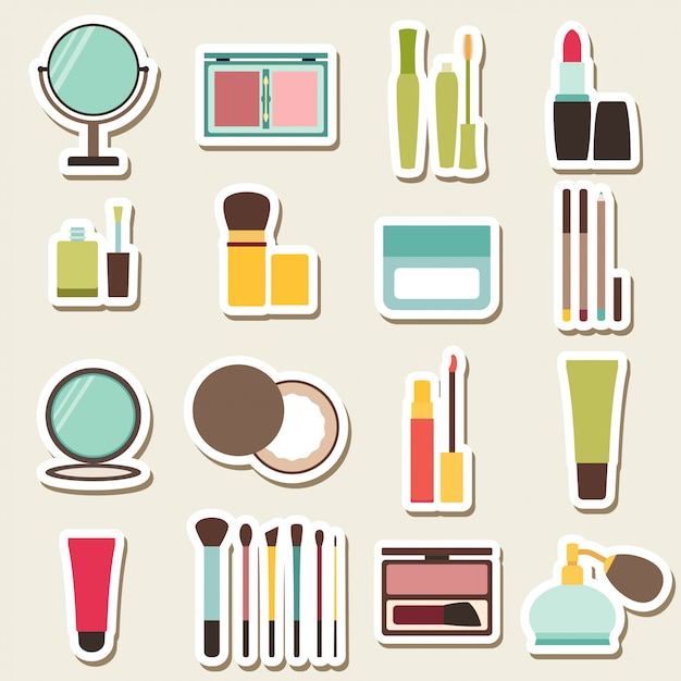 Set of beauty and cosmetics colorful icons Premium Vector