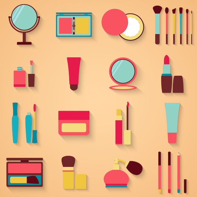 Set of beauty and cosmetics icons Premium Vector