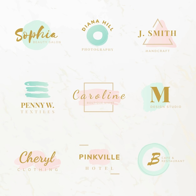 Set of beauty and fashion logo design vectors Free Vector