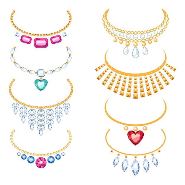 Set of beautyful golden necklaces with gemstones. Premium Vector