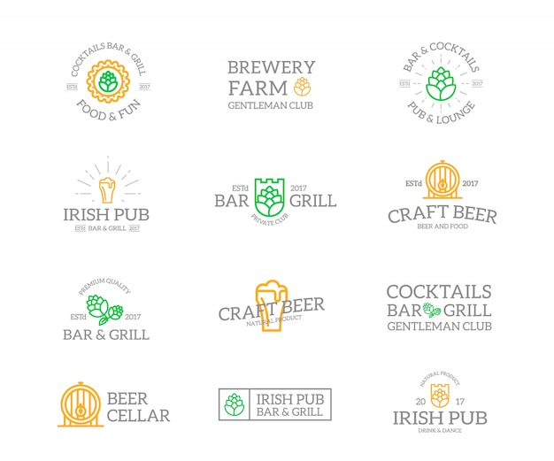 Set of beer and alcohol  logo combination. Premium Vector