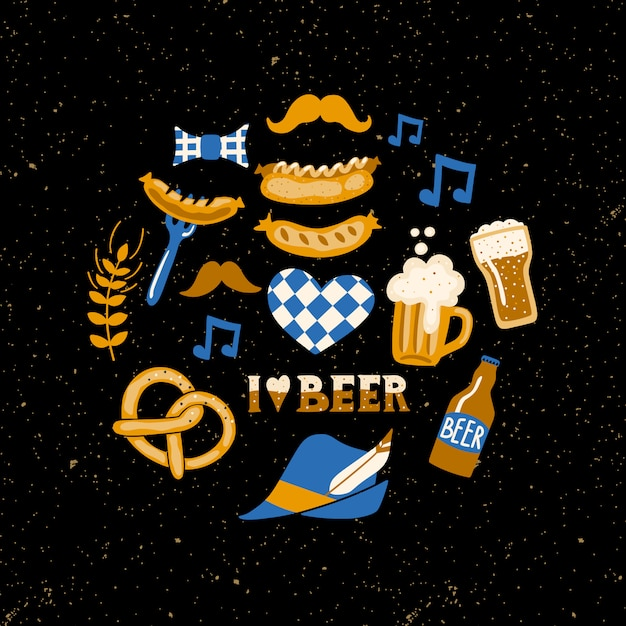 Set of beer fest attributes on grunge background. Premium Vector