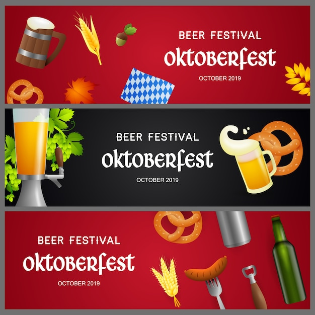 Set of beer festival banners with realistic objects Free Vector